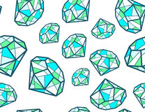 Illustration of pattern of green emeralds of different si Royalty Free Stock Images