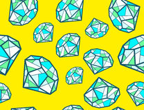 Illustration of pattern of green emeralds of different si Stock Image