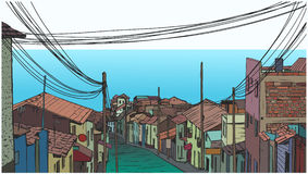 Illustration of peaceful fishing village by the seaside in color Royalty Free Stock Image
