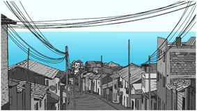 Illustration of peaceful fishing village by the seaside in grey scale Royalty Free Stock Photography