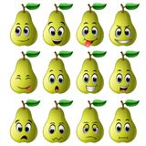 Pear with different emoticons. Illustration of pear with different emoticons Stock Image
