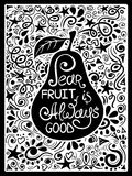 Illustration Of Pear And Hand Drawn Lettering. Stock Photography