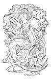 Illustration of pearl mermaid. Illustration of pearl mermaid with curled hair, decorated with seashell elements, playing with fishes underwater in the sea Royalty Free Stock Photo