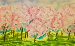 Illustration peinte à la main, jardin de source illustration libre de droits