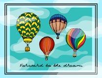Illustration peinte Aérostats multicolores, carte postale Images stock