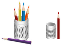 Illustration of pen pot and colored pencils Stock Images