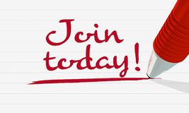 `Join today` written and underlined with a red pen stock illustration