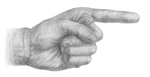 Illustration of a pencil pointing hands Stock Image
