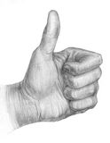 Illustration of a pencil thumb up. Hand on a white background Stock Photo