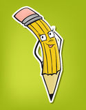 Illustration of pencil (vector). Lovely proud pen with personal face, school equipments, vector Stock Photography