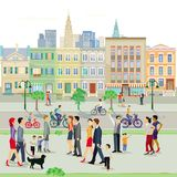 Street scene. Illustration of people active in urban street stock illustration