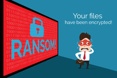 Illustration of people on background data that encrypted by ransom ware Stock Photo