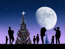 People celebrate Christmas. Illustration of people celebrate Christmas Stock Image