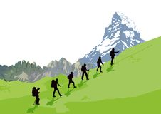 Mountain Climbers. Illustration of people climbing up a mountain stock illustration