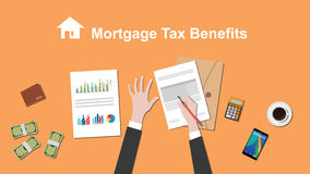 Illustration of people counting Mortgage tax benefit on a paperwork with money, folder document on top of table Stock Images