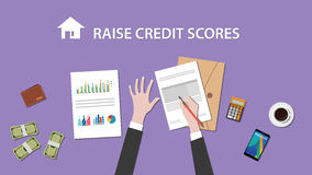 Illustration of people counting raise credit score on a paperwork with money, folder document on top of table. Vector Royalty Free Stock Photo