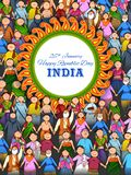 People of different religion showing Unity in Diversity on Happy Republic Day of India. Illustration of people of different religion showing Unity in Diversity royalty free illustration