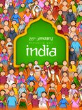 People of different religion showing Unity in Diversity on Happy Republic Day of India. Illustration of people of different religion showing Unity in Diversity vector illustration