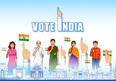 People of different religion showing voting finger for General Election of India. Illustration of People of different religion showing voting finger for General royalty free illustration