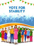 People of different religion showing voting finger for General Election of India. Illustration of People of different religion showing voting finger for General stock illustration