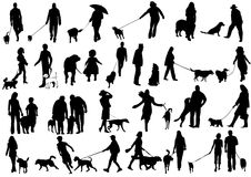 Illustration of people with dog Royalty Free Stock Images