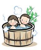 Barrel bath Japanese style royalty free illustration