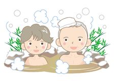 Hot spring image - Senior couple royalty free illustration