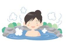 Hot spring image - woman stock illustration
