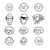 Illustration - people facial cartoon expression Stock Images