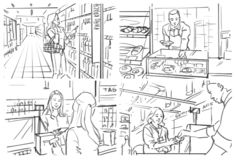 Storyboard of grocery store. Illustration with people in grocery store royalty free illustration