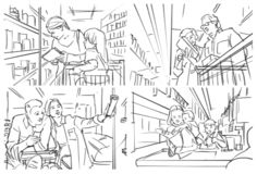 Storyboard of grocery store. Illustration with people in grocery store stock illustration