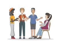 Illustration of people having a discussion sharing community concept stock illustration