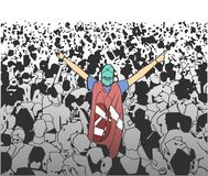 Illustration of festival crowd cheering at concert. Illustration of people having fun at festival live performance in color Royalty Free Stock Images