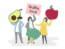 Illustration of people with healthy foods Stock Photos