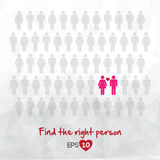 Illustration of people icons, find love Royalty Free Stock Photos