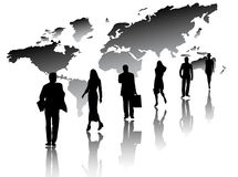 Illustration of people, map and shadows Stock Images