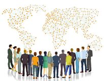 Business people looking at world map vector illustration