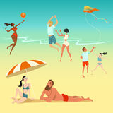 Illustration of people relaxing on the beach. Children with a kite. Young people playing volleyball. Sunbathing couple. royalty free illustration