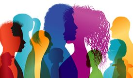 Silhouette profiles of multiracial people. Intercontinental dialogue. Group of people of different ages and nationalities. Multipl stock illustration