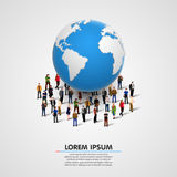 Illustration of people under planet earth. Vector illustration Stock Image