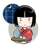 Japanese sake and woman stock illustration