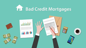 Illustration of people writing about bad credit mortgage on a paperwork with money, folder document on top of table Stock Image