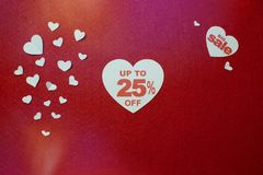 Illustration of percentage number discount in heart. Up to 25 off, big sale. Illustration of percentage number discount in heart over the red background. Up to stock images