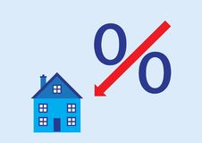 Mortgage Rates Down. A illustration of the percentage slash turned into an arrow pointing down at a house Stock Illustration
