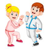 The perfect couple doing sport together and using the tracksuits. Illustration of the perfect couple doing sport together and using the tracksuits stock illustration