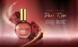 illustration perfume in a glass bottle on a wine-red background with luxurious burgundy roses. Stock Photo