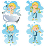 Illustration of a person doing hygiene. A little boy in his pajamas brushes his teeth, bathes, combs himself Stock Photo