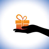 Illustration of person giving/receiving gift package Stock Photos