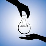 Illustration of a person giving solution to other. Concept illustration of one person providing solution to the other. The graphic uses a light bulb with Stock Image