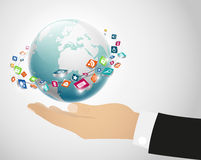 Illustration of Person holding globe on the hand Stock Image